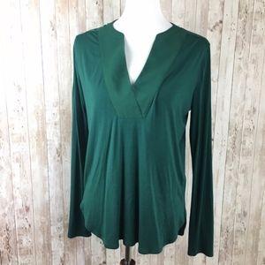 White House Black Market Green Long Sleeve Blouse